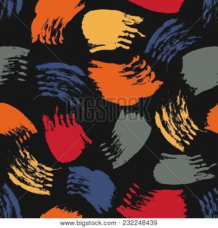 Vector Colorful Seamless Pattern With Brush Strokes And Dots. Red Blue Grey Orange Color On Black Ba