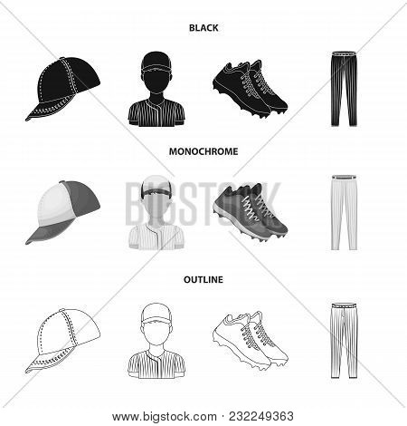 Baseball Cap, Player And Other Accessories. Baseball Set Collection Icons In Black, Monochrome, Outl