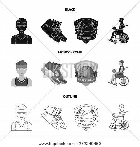 Basketball And Attributes Black, Monochrome, Outline Icons In Set Collection For Design.basketball P