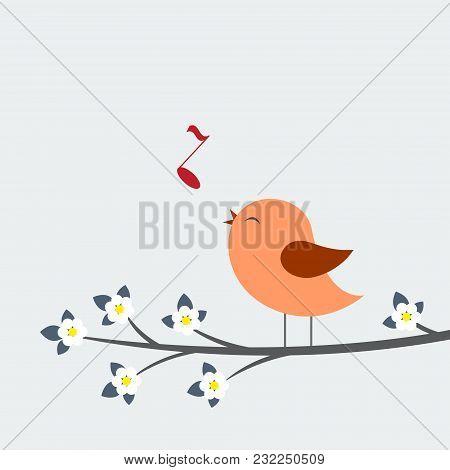 Cute Bird Sings. Spring Vector Card, Vector Illustration