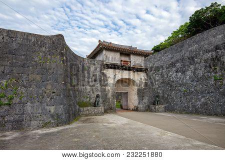 Facade View Of Kankaimon Gate In Okinawa