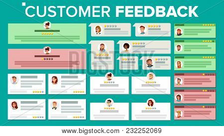 Customer Feedback Vector. Good And Bad Feedback. User Photo. Store Quality Work. Positive, Negative