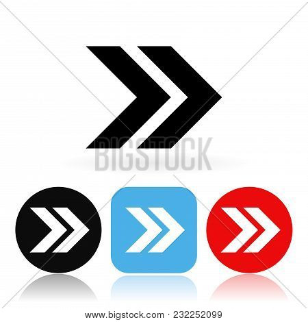Arrow Icons. Colored Icons With Reflection. Vector Illustration On White Background