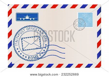 Envelope With Rome Stamp. International Mail Postage With Postmark And Stamps. Vector Illustration