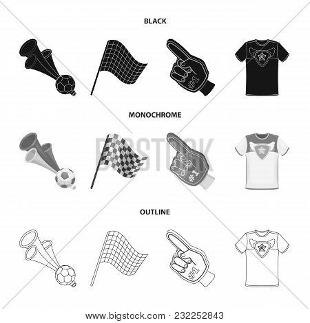 Pipe, Uniform And Other Attributes Of The Fans.fans Set Collection Icons In Black, Monochrome, Outli