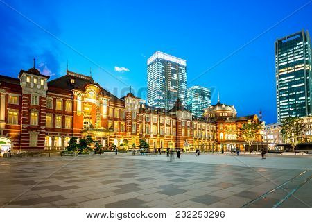 Facade View Of Tokyo Station At Night
