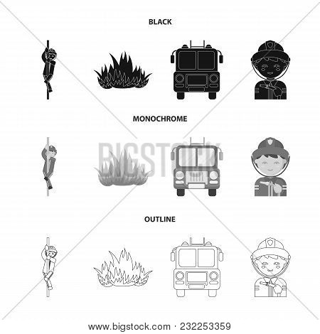 Fireman, Flame, Fire Truck. Fire Department Set Collection Icons In Black, Monochrome, Outline Style