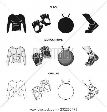 Men Torso, Gymnastic Gloves, Jumping Ball, Sneakers. Fitnes Set Collection Icons In Black, Monochrom