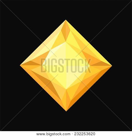 Yellow Jewerly Stone, Gemstone Vector Illustration Isolated On A Black Background.