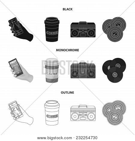 Hipster, Fashion, Style, Subculture .hipster Style Set Collection Icons In Black, Monochrome, Outlin