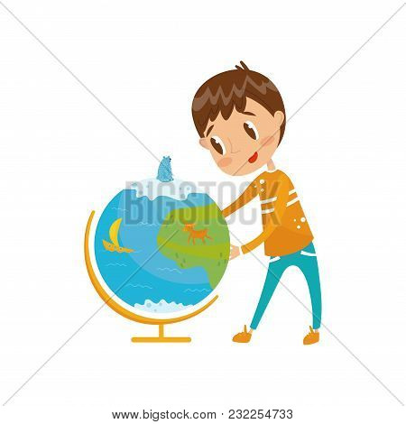 Boy Learning Geography With Big School Globe, Preschool Activities And Early Childhood Education Con