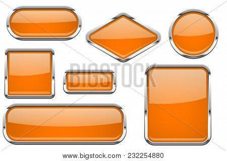 Orange Glass Buttons With Chrome Frame. Colored Set Of Shiny 3d Web Icons. Vector Illustration Isola