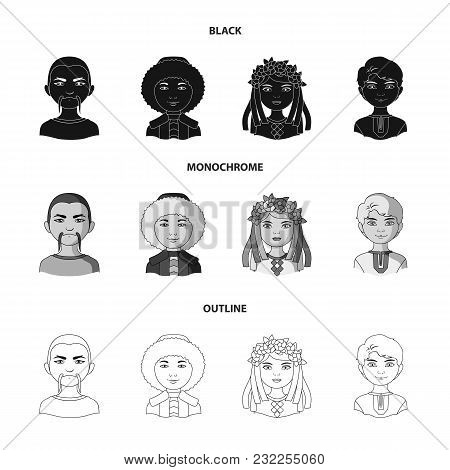 Chinese, Ukrainian, Russian, Eskimo. Human Race Set Collection Icons In Black, Monochrome, Outline S