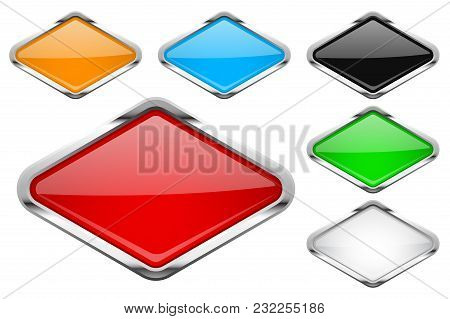 Glass Buttons With Chrome Frame. Colored Set Of Shiny Rhombus Shaped 3d Web Icons. Vector Illustrati