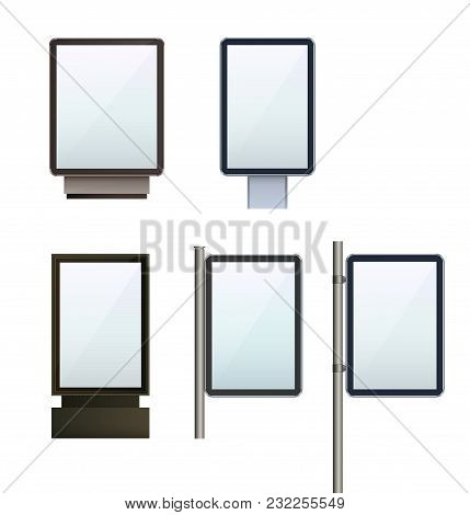 Set Outdoor Lightbox Citylight Advertising Stand On Isolated Clean Background. Design Template Blank