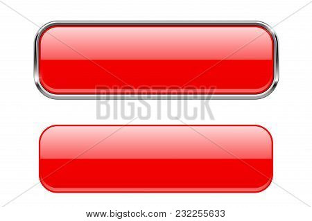 Red Glass Buttons With And Without Metal Frame. Vector 3d Illustration