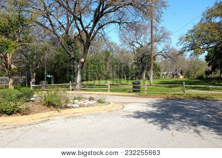 Round Rock, Texas - March 19, 2018: Chisholm Trail Park In Round Rock, Texas. The Park Commemorates