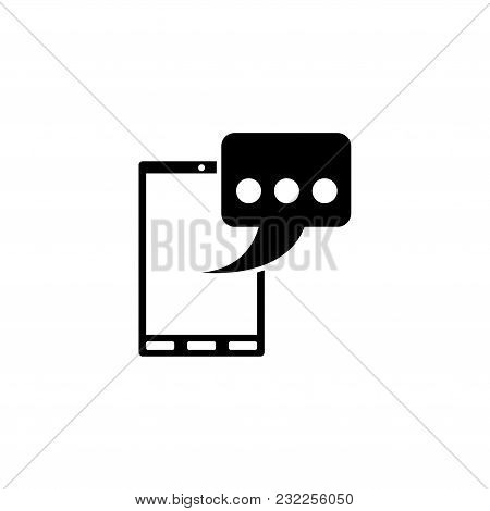 Phone Message Sms. Flat Vector Icon. Simple Black Symbol On White Background