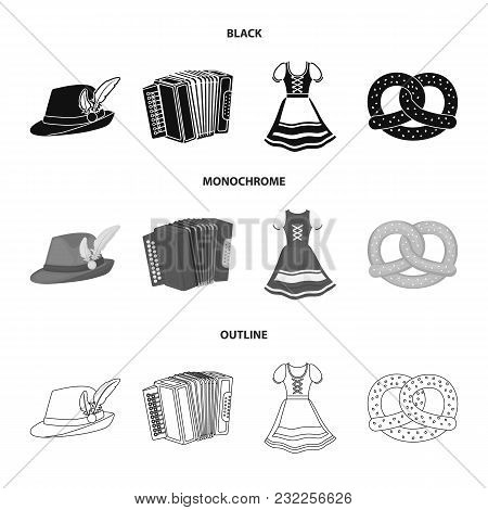 Tyrolean Hat, Accordion, Dress, Pretzel. Oktoberfestset Collection Icons In Black, Monochrome, Outli