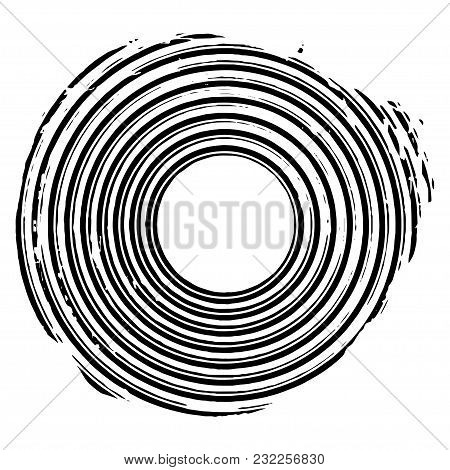 Black Concentric Grunge Circle. Distressed Overlaying Circle. Vector Design Element