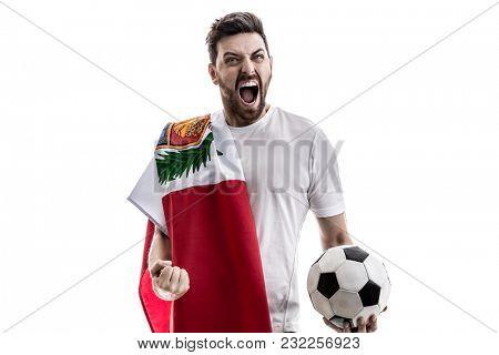 Peruvian male athlete / fan celebrating on white background