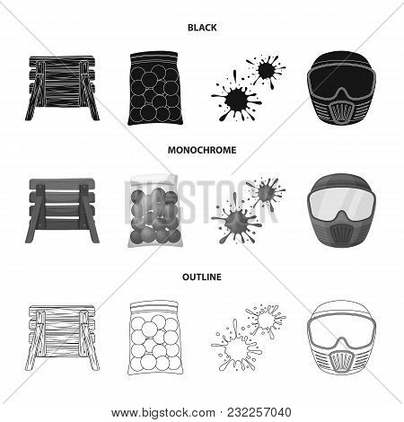 Wooden Barricade, Protective Mask And Other Accessories. Paintball Single Icon In Black, Monochrome,