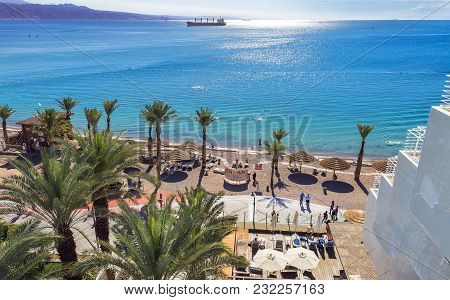 Eilat, Israel - January 15, 2018: Aerial View On The Red Sea, Central Public Beach And Promenade In