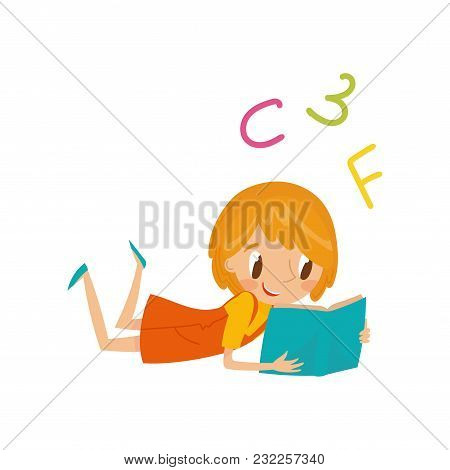 Little Girl Lying On Her Stomach And Reading A Book, Education And Knowledge Concept, Colorful Carto