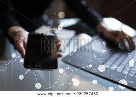 Template For Text, Virtual Screen Background With Icons. Business, Internet Technology And Networkin