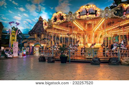 Bangkok, Thailand - March 04: Merry-go-around Operates In The Theme Park In The Mall Bangkhae On Mar