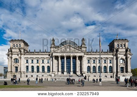 Berlin, Germany - April 16, 2017: View Of The Reichstag, The Historic German Parliament Building, On