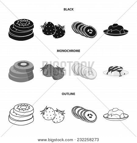 Fruits And Other Food. Food Set Collection Icons In Black, Monochrome, Outline Style Vector Symbol S