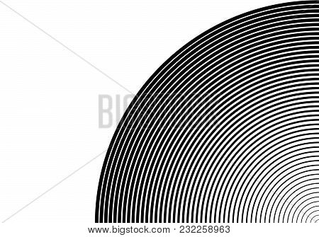 White Black Color Design Elements. Circle Many Streak. Abstract Circular Wireframe Mesh For Linear B