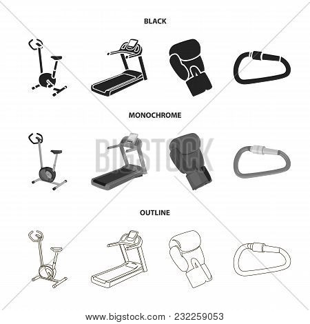 Exercise Bike, Treadmill, Glove Boxer, Lock. Sport Set Collection Icons In Black, Monochrome, Outlin