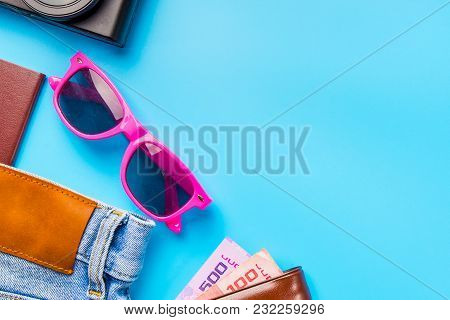 Travel Accessories Costumes Concept For Summer Vacation Trip. Passports, Luggage, Map, Smartphone,su