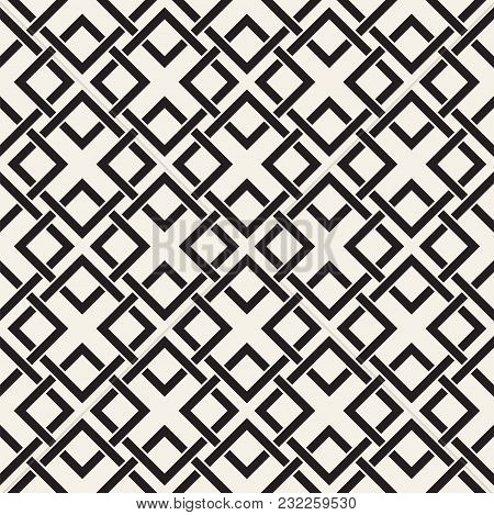 Vector Seamless Lines Pattern. Abstract Background With Interweaving Squares. Geometric Monochrome L