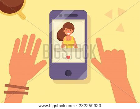 Online Dating. Woman On Screen. Vector. Cartoon Isolated Art Flat