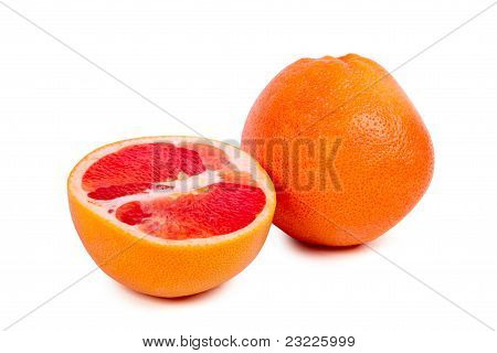Grapefruit Halves Isolated On The White Background