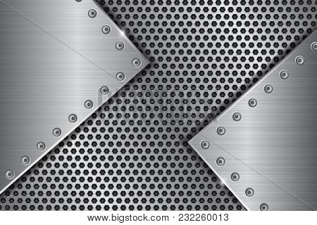 Metal Perforated Background With Brushed Iron Plates With Rivets. Vector 3d Illustration