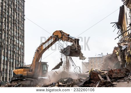 Hydraulic Crusher Excavator Working On Demolition Site