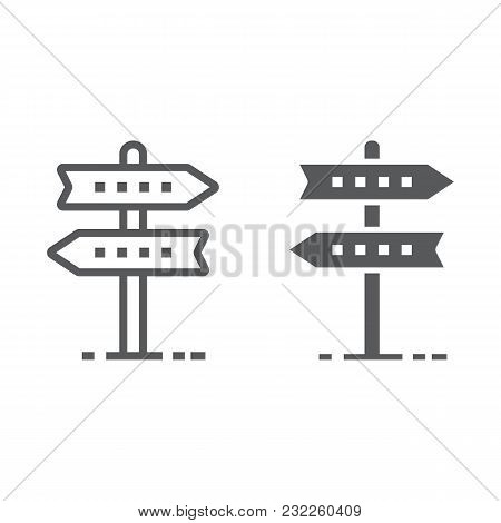 Signpost Line And Glyph Icon, Development And Business, Direction Sign Vector Graphics, A Linear Pat