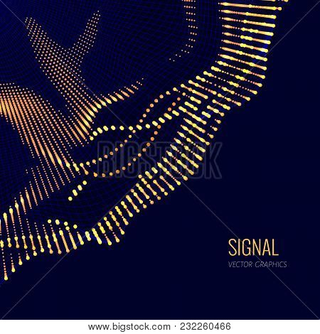 Vector Abstract Composition Made Of Particles And Wireframe. Concept Design Of Digital Data Array, S