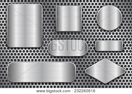 Brushed Metal Plates. Set Of Geometric Shape Plaques On Perforated Background. Vector 3d Illustratio
