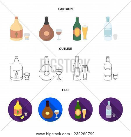 Tequila, Cognac, Beer, Vodka.alcohol Set Collection Icons In Cartoon, Outline, Flat Style Vector Sym