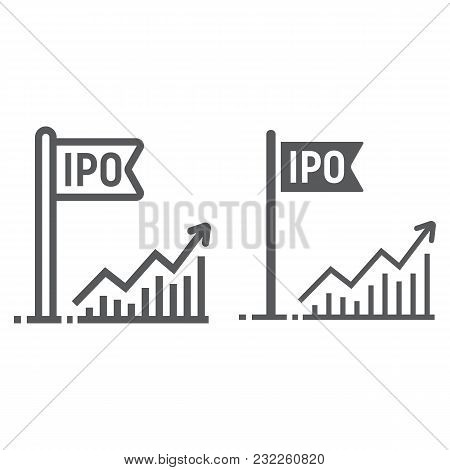 Initial Public Offer Line And Glyph Icon, Development And Business, Ipo Sign Vector Graphics, A Line