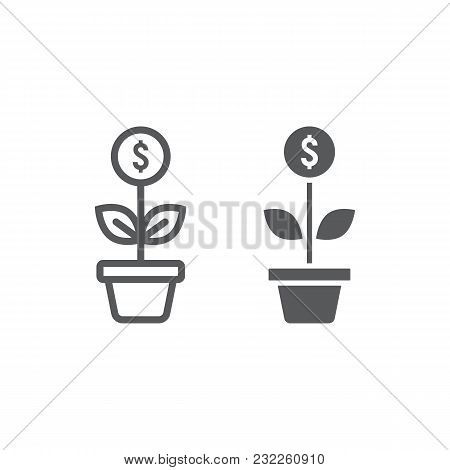 Successful Investment Line And Glyph Icon, Development And Business, Money Growth Sign Vector Graphi