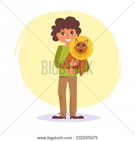 Dog In A Medical Collar. Vector. Cartoon. Isolated Art On White Background. Flat