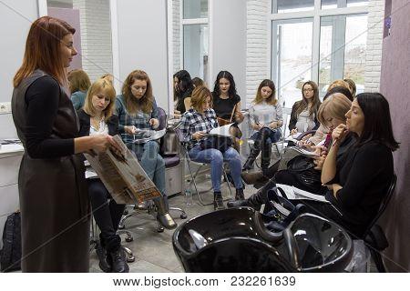 Lutsk, Volyn / Ukraine - December 06 2017: Speaker At Workshop And Presentation For Hairdressers In
