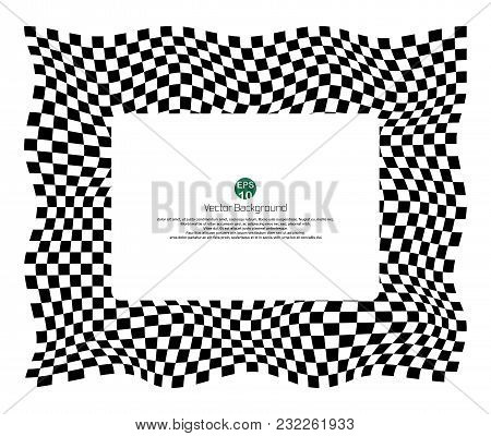 Checkered Pattern Of Champ Background With Distort  Black And White Banner, Illustration Vector Eps1