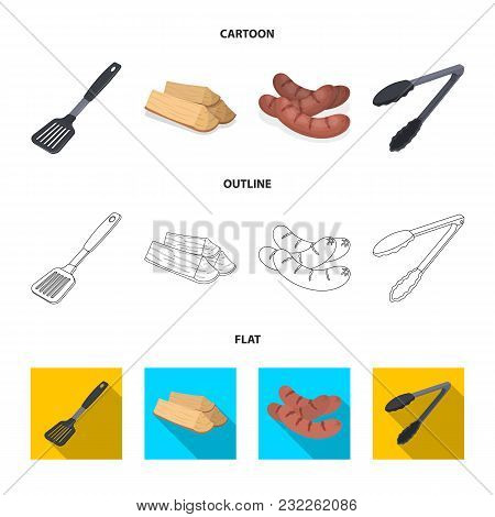Blade Kitchen, Firewood, Sausages And Other For Barbecue.bbq Set Collection Icons In Cartoon, Outlin